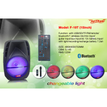 Пластиковый портативный динамик с Bluetooth-пластиком 15 дюймов / FM / USB / SD / Remote F19t