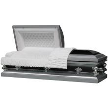 18 Ga carbone argent ébène cercueil d'acier