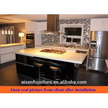Cliente compartir imágenes material de laca brillante gabinete de cocina de diseño moderno