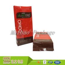 Bolso de café al por mayor de la bolsa de plástico del escudete del lado del papel de aluminio de la impresión brillante al por mayor del logotipo con la válvula