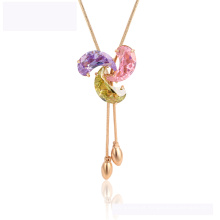 44850 mais recente projeto xuping moda colar elegante 18 K cor de ouro colar de diamantes