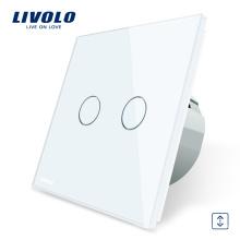 Commutateur Smart Touch Livolo EU Cutrain pour mur, normal, 2 voies, 1 voie VL- C702W-11/12/13/15