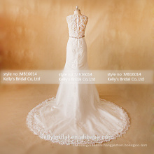 MB16014 High Neck Design Lace Appliqued See-through Back Sexy Wedding Dresses A-Line Classic Beaded Sash Beautiful Wedding Gown