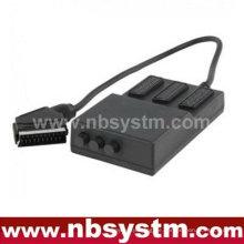 Scartbox 21pin Scart-Stecker auf 3 x 21pin Scart-Buchsen-Box (mit Schalter)