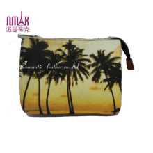 Coconut Tree Print Wallet Canvas Cosmetic Bags Nmdk-F27