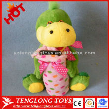 Kids gift plush green dinosaur toys with coin bank
