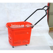 Best selling Stackable shopping basket with four wheels