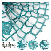 Custom oem High quality soft net green mesh embroidery