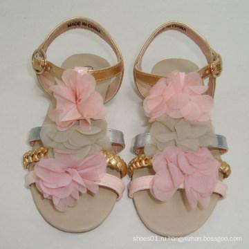 Новые моды ручной косой gril сандалии обувь с искусственными цветами дети обувь