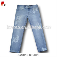 Wholesale flower printed denim jeans