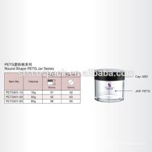 15ml 50ml 80ml Forma Redonda Embalagem Cosmética Para Creme Rosto E Garrafa Limpa Petg Com Cap ABS Preto