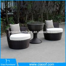 Table basse en rotin extérieur moderne avec coussin pour 2