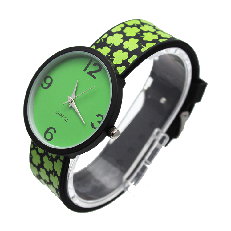 green quartz watch
