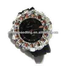 Black Watchband With Big Crystal Paved Around Good Looking Ladies Pocket Watches