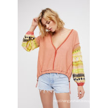 Washed Cotton Pullover V-Neckline Sweater