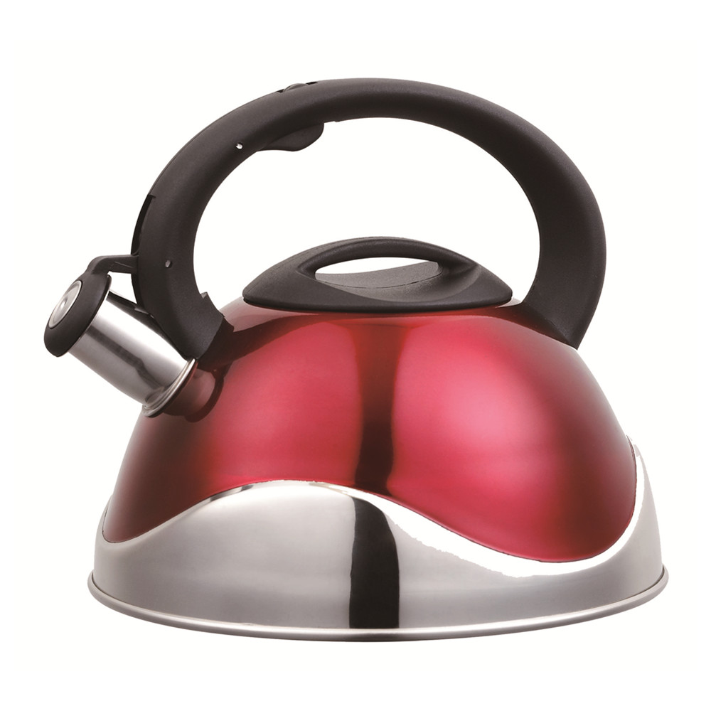 Painting Red Wave Shape Design Whistling Kettle