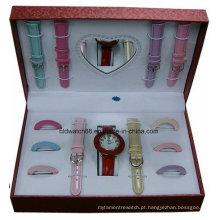 Relógio Set de Presente e Correias Mutáveis com Anéis Mutáveis