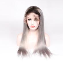 Горячие продажи 8А класс 100% девственница бразильский парик фронта шнурка человеческих волос полный парик шнурка ombre цвет объемная волна 1b серый