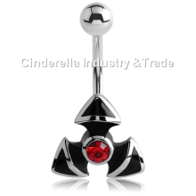 Steel Kool Katana Belly Rings Jeweled Trinity