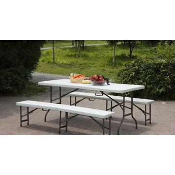 Used Plastic Folding Half Bench in 183*30*43cm for Park, Garden, Outdoor