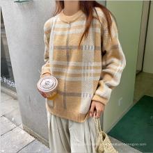 Suéter de lã xadrez 2020 feminino