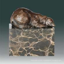 Animal Brass Statue Bear Hibernating Bronze Sculpture Tpal-271