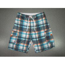 Yj-3023 Mens Microfiber Velcro Elastic Waist Pants Plaid Shorts for Men