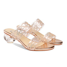 Women Slippers Sandals Glass Crystal Heel Wholesale Sandals Custom Gold Diamond Slides Ladies Slippers And Sandals for Women