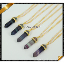 Fashion Amethyst Point Pendant, Gold Chain Necklace Wholesale (CN021)