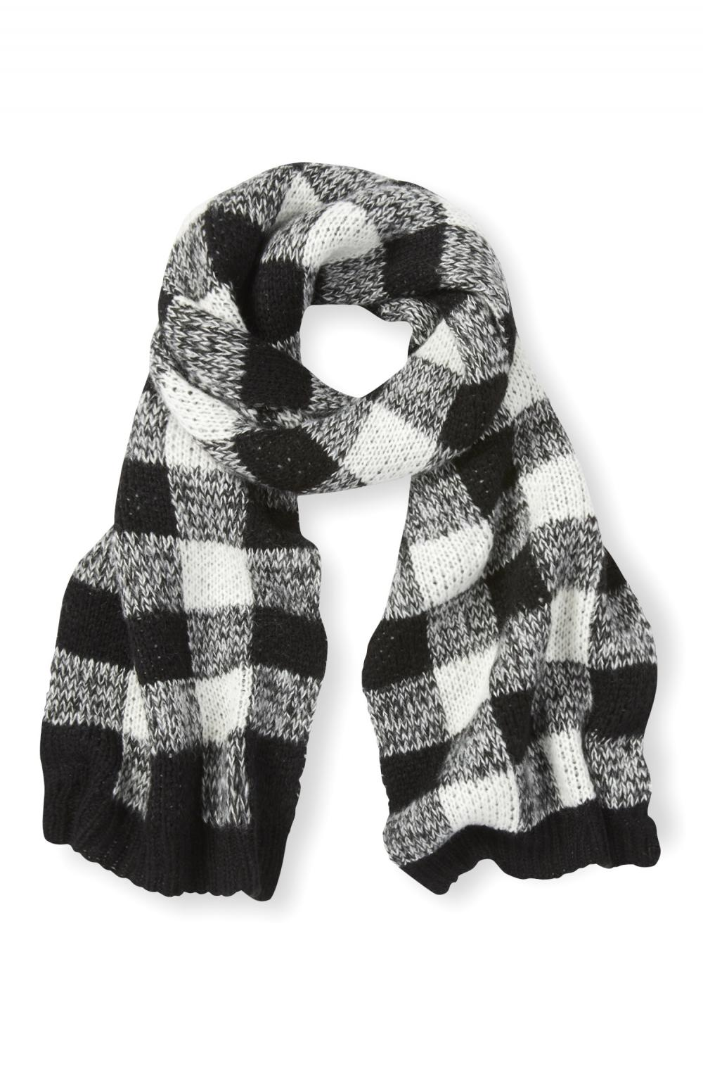 Black And White Knitted Check Scarf