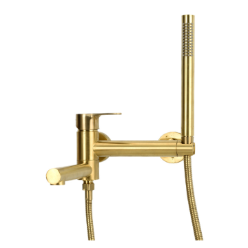 Top sales waterfall mixer gold finished Stretchable Handheld shower Hot and cold valve Bathtub faucet water tap
