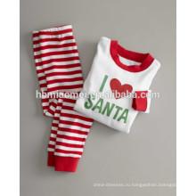 2016 100% хлопок Младенческая Рождество пижамы Рождество полосатые пижамы для новорожденных
