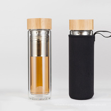 450ml double wall glass tea infuser water bottle bamboo cover glass water bottle