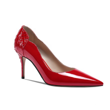 Red snakeskin cow leather pointed high heel 2020 spring summer high heel pumps women shoes for ladies