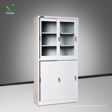 Office furniture KD structure sliding door steel file cabinet with glass doors