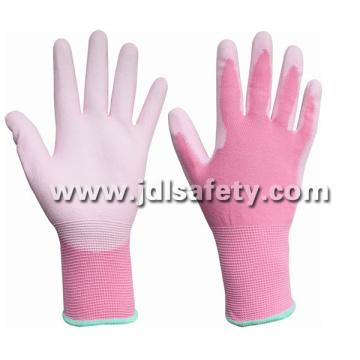 Luva de Nylon rosa com Palm PU revestido (PN8004P)