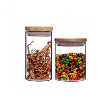 High quality food grade borosilicate glass storage jar with bamboo lid BJ-46A