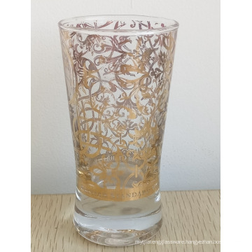 Haonai shot glass custom printed shot glass with golden printing for russia
