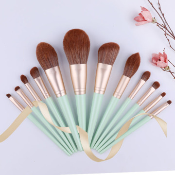 12st Spring green cosmetica brush set