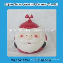 Cutely Navidad frasco de almacenamiento de cerámica con Papá Noel
