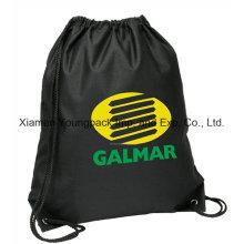 Bolso de la mochila del cordón sin tejer reciclado negro de encargo del animal doméstico