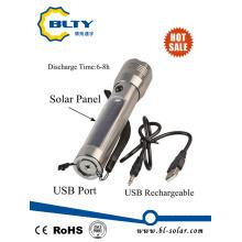 Linterna recargable de la energía solar LED con el cargador del USB