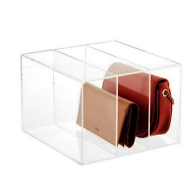 Deluxe 3-Compartment Clutch & Small Purse Organizer Display Holder Clear Acrylic Storage Box