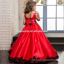 Embroidered Lace Sleeveless Baby Girl Dress In Red Color with Bowknot for Christmas Party