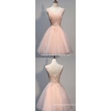 A-Line Bateau-Neck Knee Length Lace Wedding Dress With Illusion