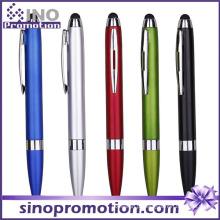 Caneta esferográfica com várias cores e brilho metálico com ponta de borracha