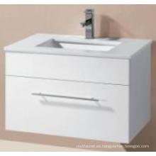 Armario de baño colgado en la pared brillante del MDF de las mercancías sanitarias con el lavabo del arte (UV8023-600-1)