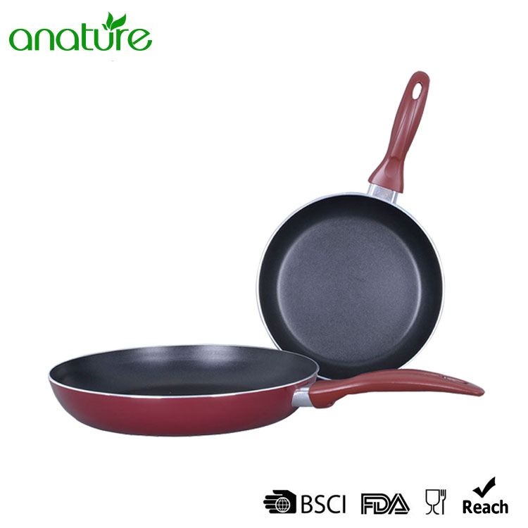 Pressed Aluminum Red Heat Resistant Fry Pan