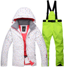 Female type ski outfit PVC layer warm wind