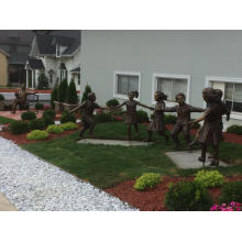 Bronze Children Hand in Hand Sculpture For Sale
